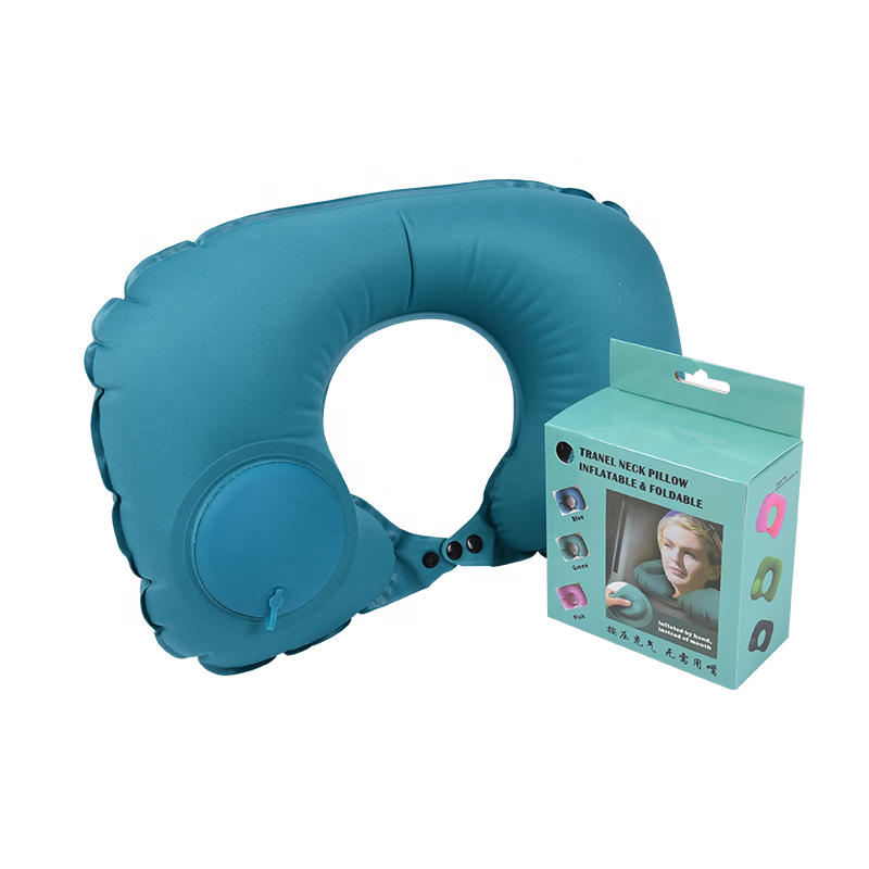 Push Button Travel Neck Support Air Inflatable Neck Pillow