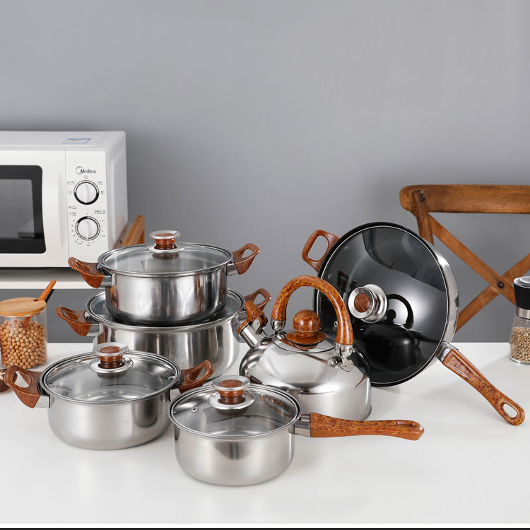 Heavy Duty Nonstick Cookware Sets Royal Prestige Pots Stainless Steel 4 Pieces Hotel And Restaurant