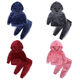 Custom Teen Autumn Winter Warm Baby Girls Suit Boys Velvet Long Sleeve Kids Hooded Clothes Sets