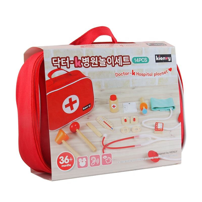 Wood only 2020 new design Children's wooden toy medical kit