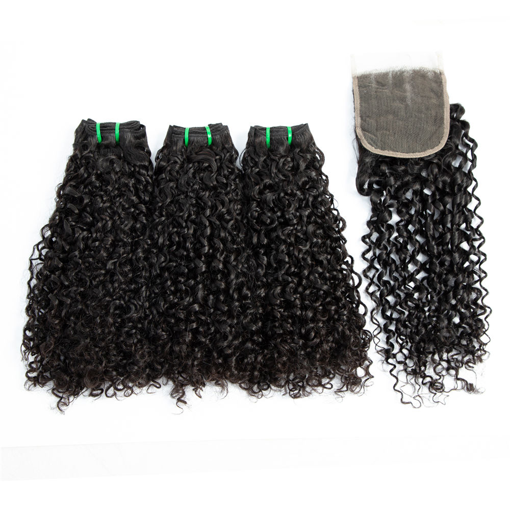 Amanda 10a 11a Fumi Super Double Drawn Virgin Indian Human Hair Pixie Curls 3 Bundles with Lace Frontal Closure