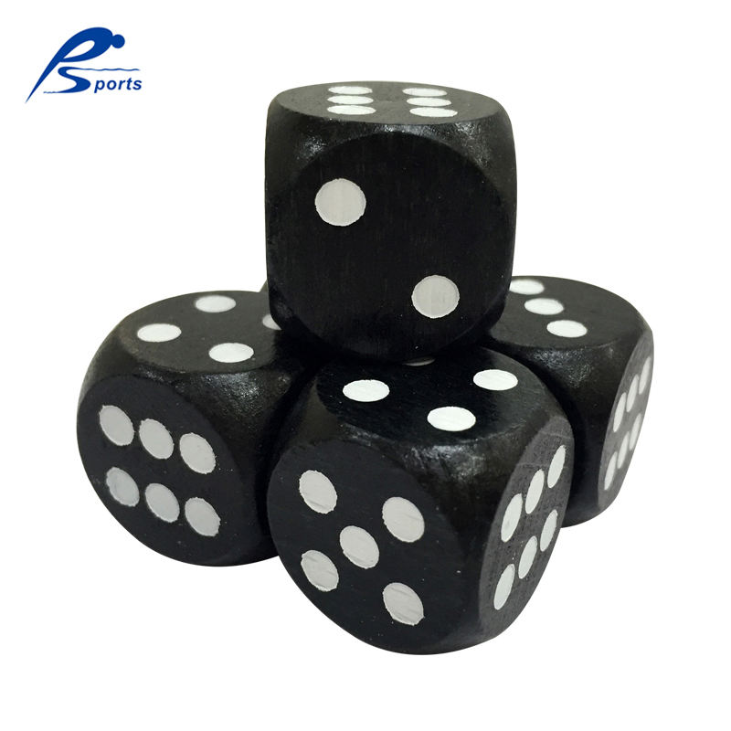 Wooden Toys Black Color 12/14/16/18/20/25/30mm White Dot Round Corner Wooden Dice