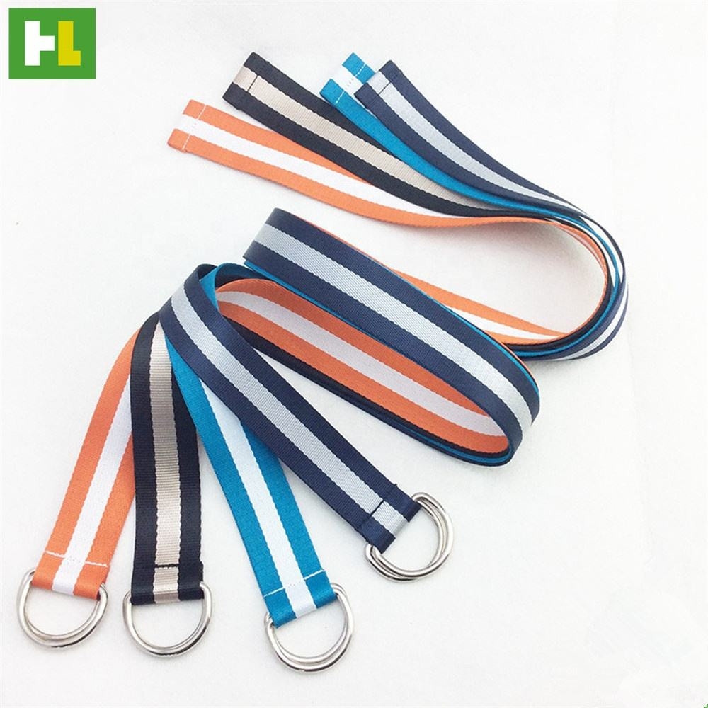 Wholesale cheap practical double D-ring waist polyester belt for men