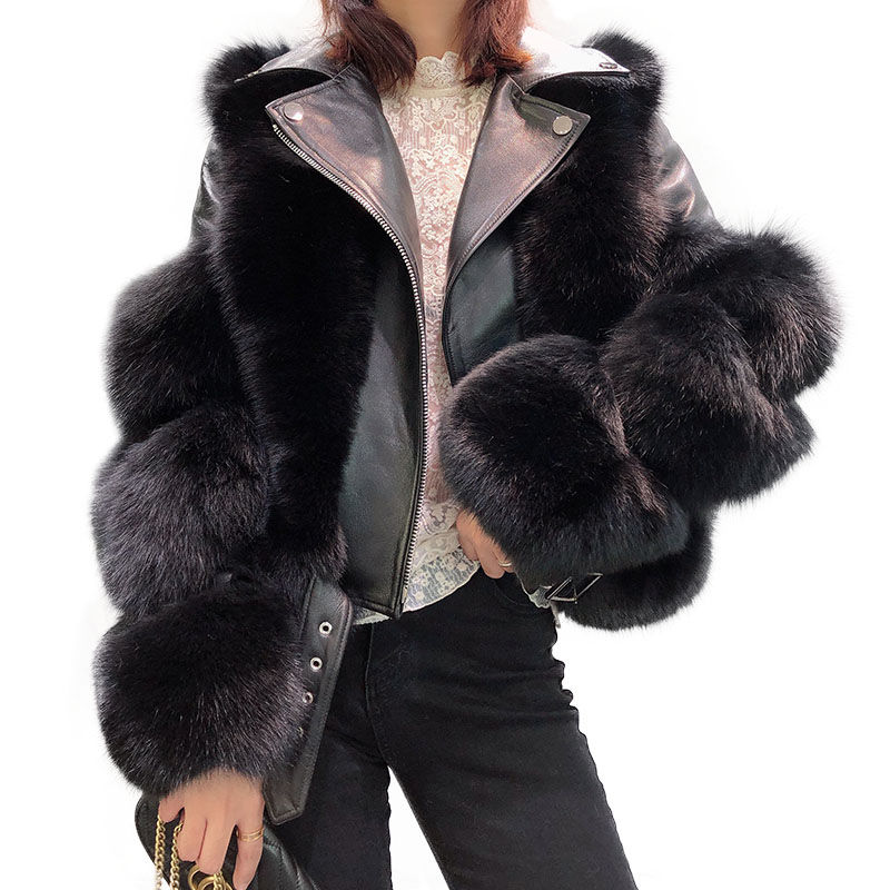 New Arrival Luxury Overcoat Real Sheep Sheepskin Leather Jacket Fashion Warm Real Fox Fur Jacket Winter Women Leather Fur Jacket