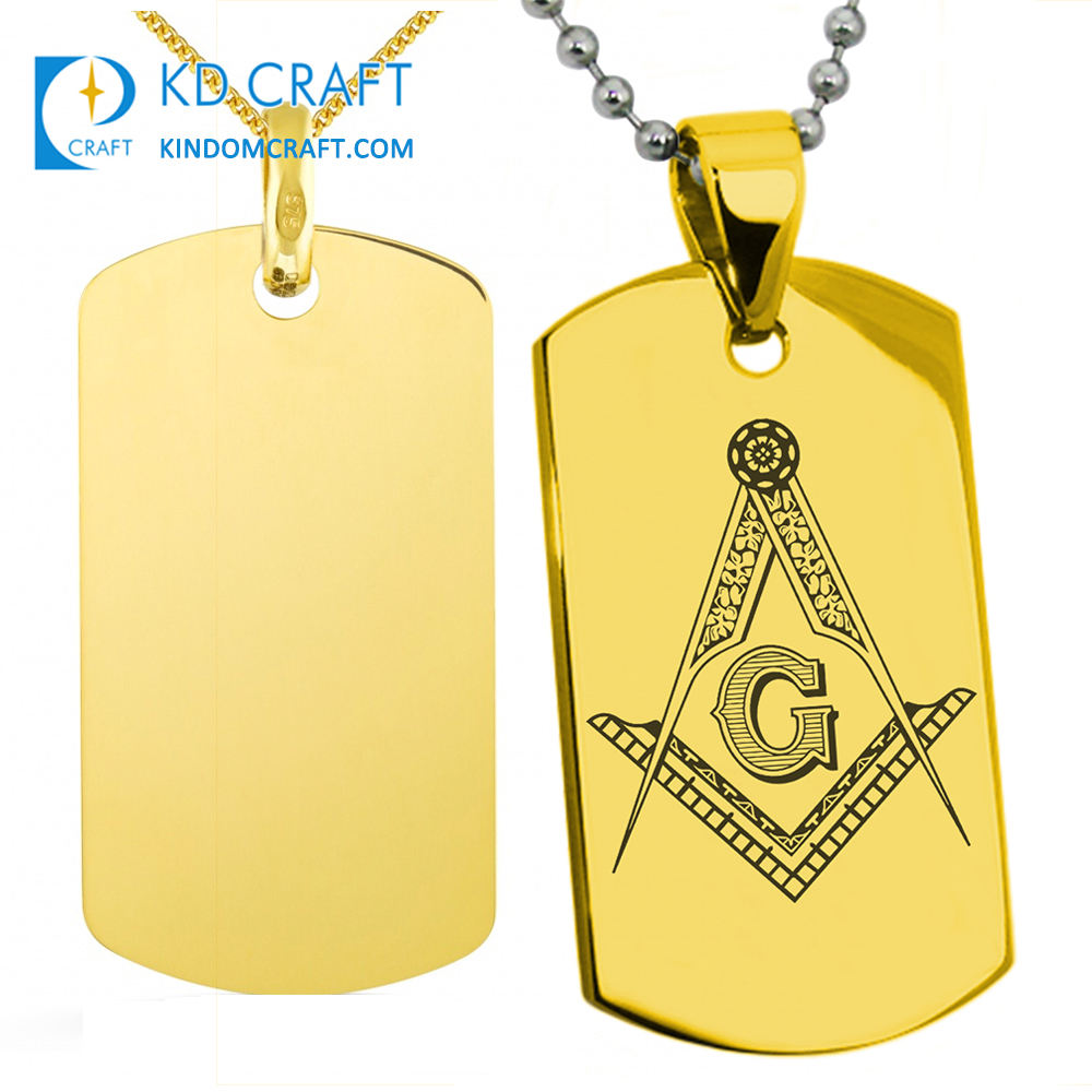 Unique design blank metal charm brass stamping 3d gold plated military army pendant freemason masonic dog tag for sale