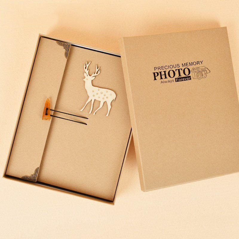 FEIYOU 2020 wholesale custom logo kraft paper diy photo album scrapbook wedding photo album with gift box eco