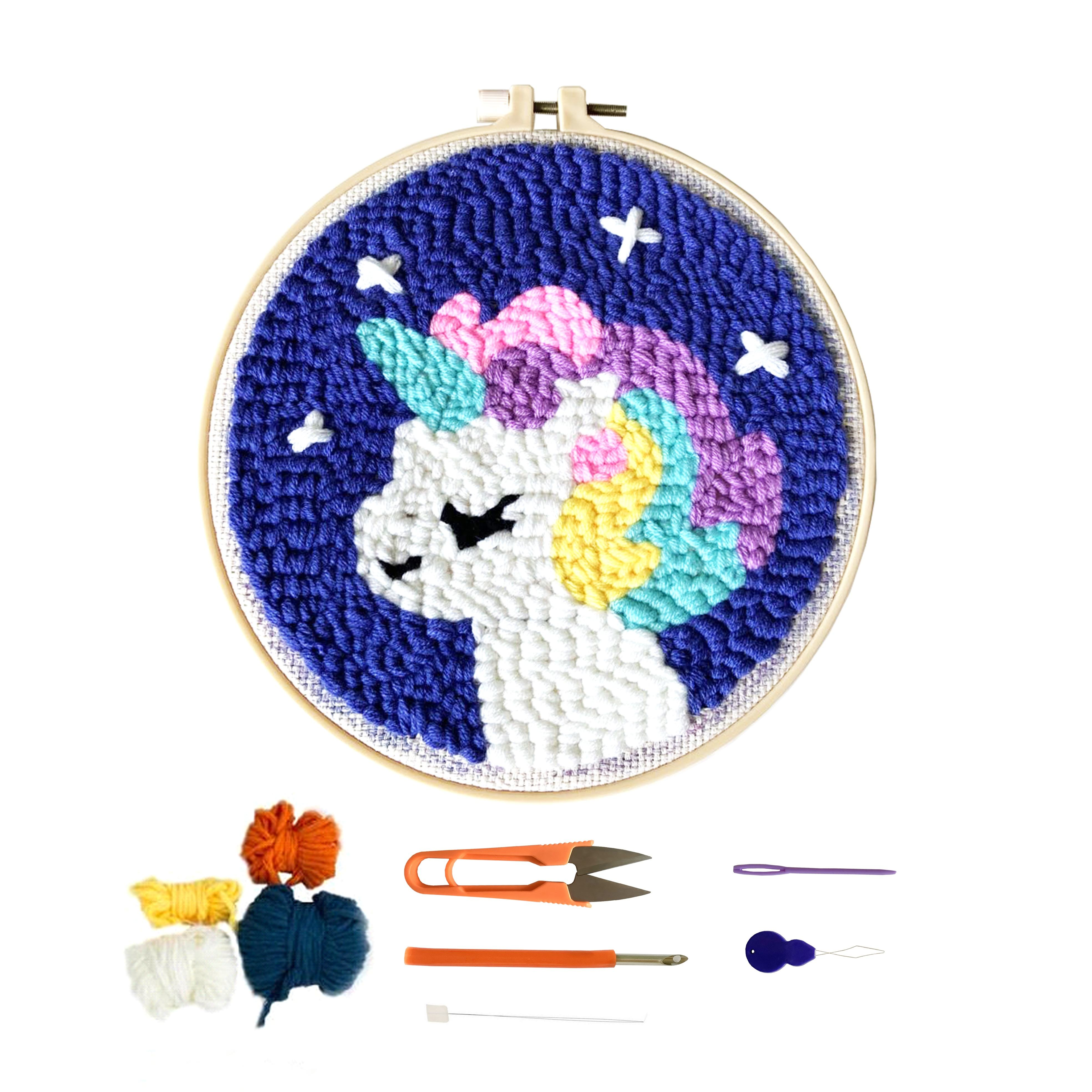 Popular Handmade Colorful Unicorn Animal Round Diy Cross Stitch with Frame