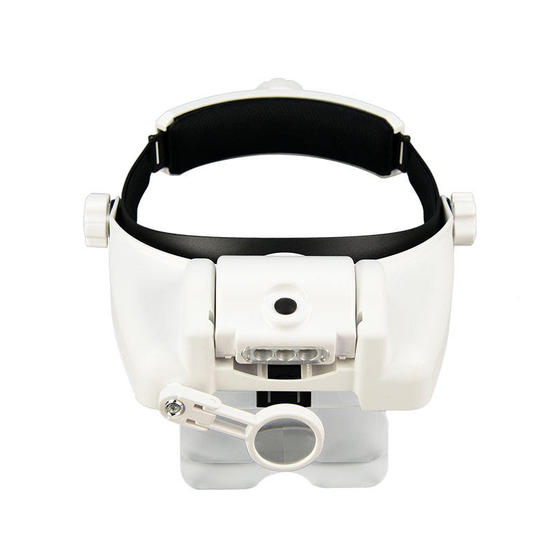 Head Mount Magnifier with LED Light Handsfree Magnifying Glass Adjustable Headband for Close Work