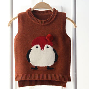 autumn new round neck vest cartoon children knitting Baby tank top