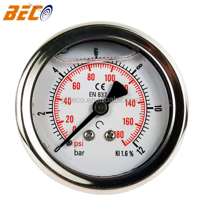 Beco 2 Inch Stainless Steel Berisi Cairan Switch Contact Pressure Gauge Minyak