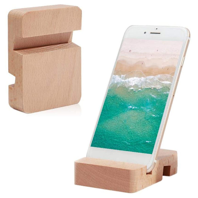 Best selling high quality cell phone holder custom logo wooden mobile phone stand for desk