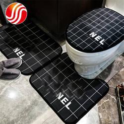 Brand Warm Winter Printed Portable Absorbent Bathroom Door Floor Mats Bathroom Soft 3Pcs Toilet Seat Cover