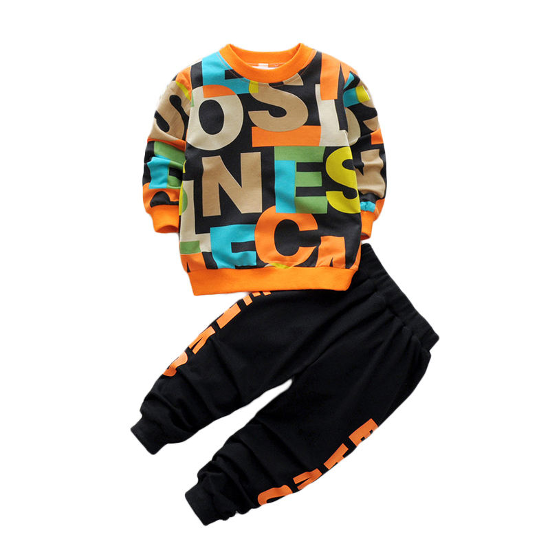 Spring Tracksuit for Boys Children Clothing Sets Sports Suit Boy Letter Printed Patchwork T-shirt and Pant 2PCS Baby Boy Set