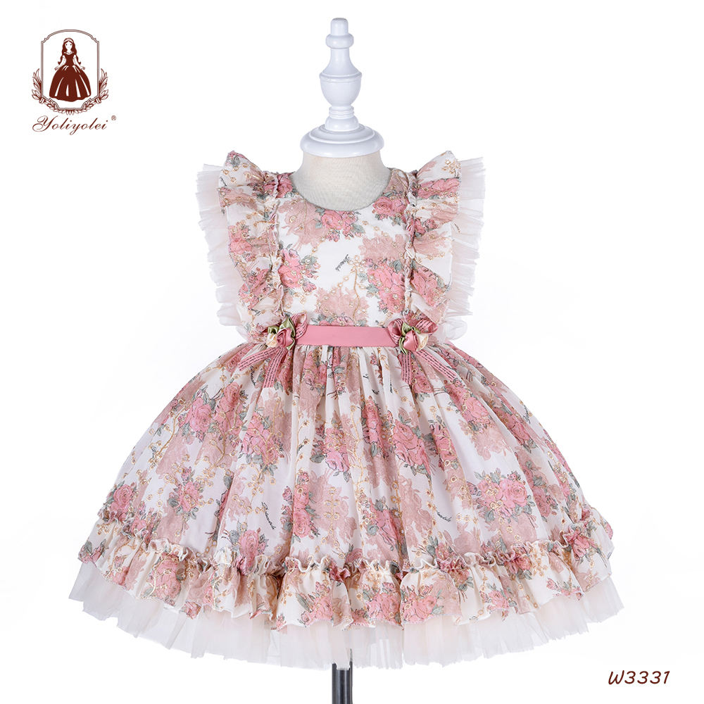 Hot Sale Lolita Spanish Vintage Princess Ball Gown With Headband ,Royal Flower Dress For Baby Girls Birthday Party Dress