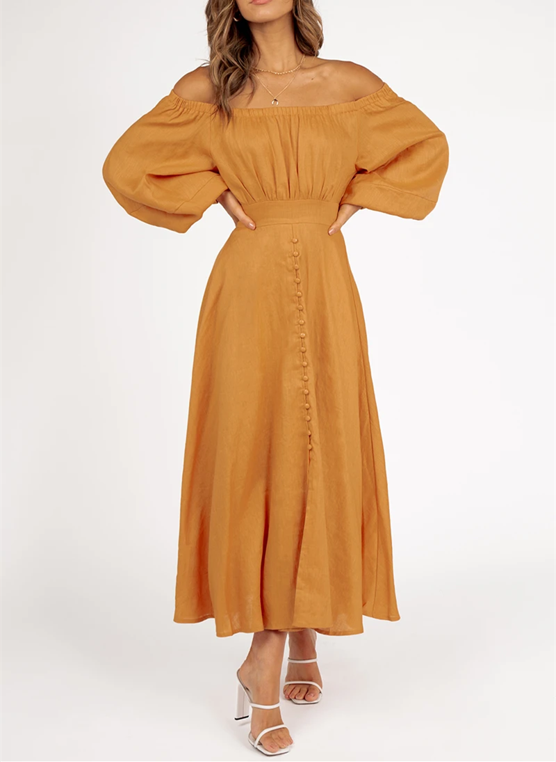 2021 OEM summer women long sleeve off shoulder linen midi dress