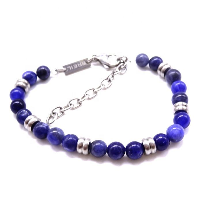wholesale clasp beaded stainless steel mens natural stone beads bracelet
