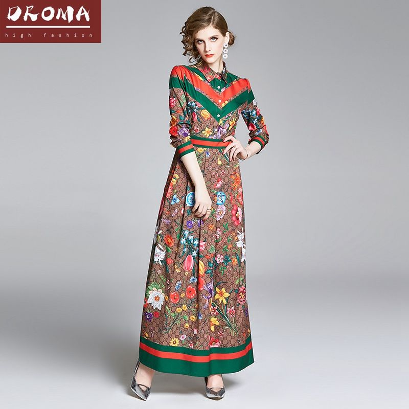 Droma 2020 new arrival fashion elegant casual cheap price retro turn down collar full sleeve ankle-length women long maxi dress