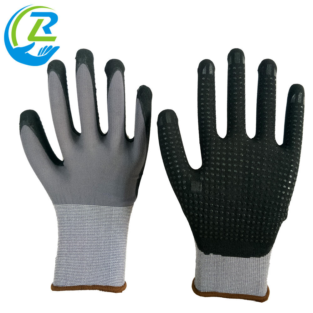 black nitrile foam with rubber grip dots dipped 15 gauge grey nylon gloves