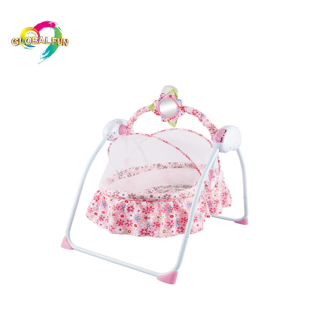 Baby Girl Cribs Plastic Automatic Rocking Swing Bed eEectric Baby Cradle With Remote Control Pillow & Mosquito Net