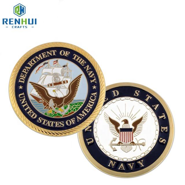 Supply Cheapest Customized Metal Souvenir Coins Gold Plated Challenge Coins No Minimum Silver Navy Coins