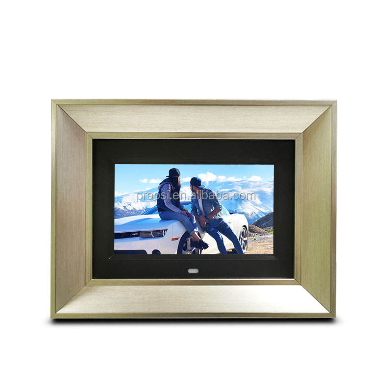 wall mount high resolution 1024*600 IPS panel 7 inch mini wood photo digital frame/7 inch usb advisement player for sale
