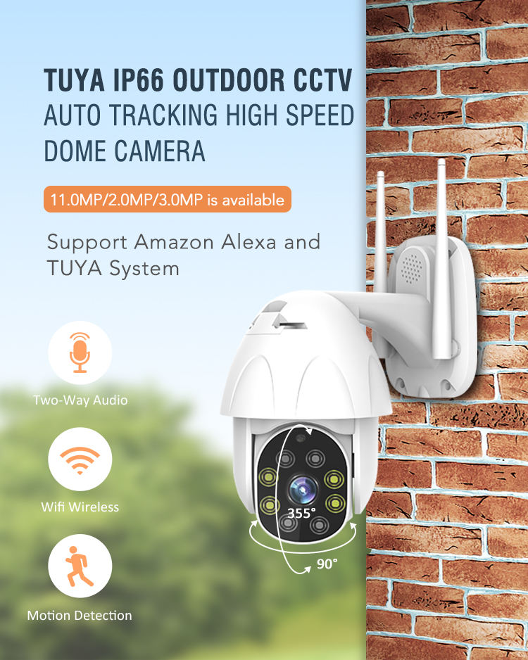 Tuya system Wifi outdoor cctv camera with auto tracking Speed Dome camera support Amazon Alexa