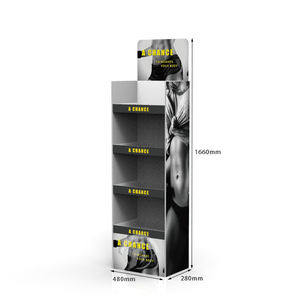 Free Samples Sporting Goods Paperboard Floor Display Stand Cardboard Fitness Underwear Produkt Display Shelf for Sports Store