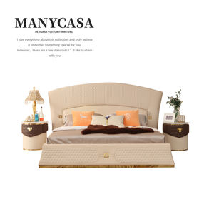 Italy Contemporary Bed Design Furniture Wooden Cow Leather Bed For Villa Luxury Bed Series