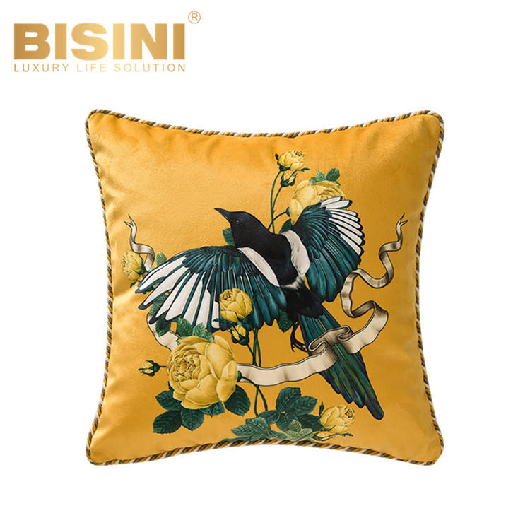 New Arrivals American Style Yellow Series Swallow and Chinese Rose Sofa Cushions Attractive Velvet Printed Pillows