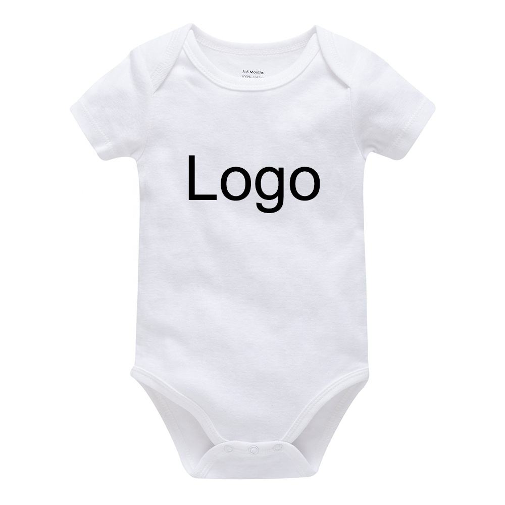 Infant Onesie 100% Cotton Custom Logo Printing Plain Blank Baby Boys' Clothing Rompers