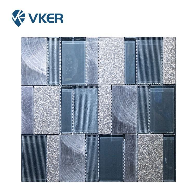 Stone Mix Crystal Glass Mosaic Tile Grey Blue Mix Decoration Bathroom Tiles