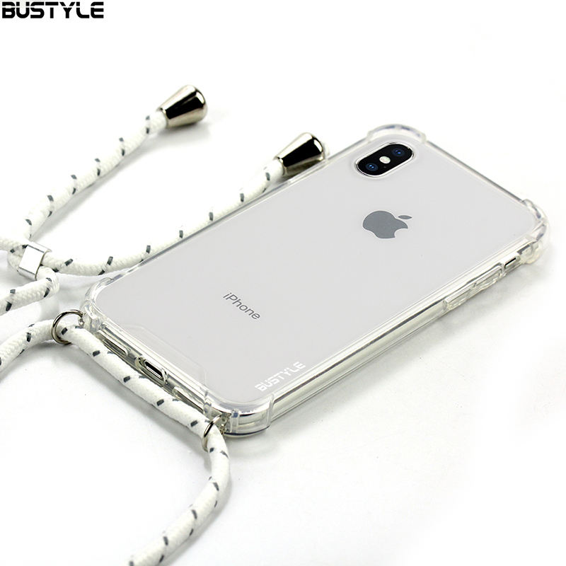 New phone case chain Mobile Phone Clear Tpu Necklace Strap Smartphone Transparent Shockproof Case for iphone 6/7/8/x/xs max