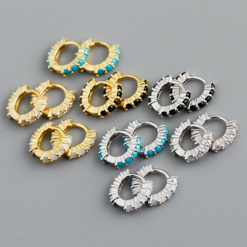 2021 New Trendy 925 Sterling Silver 18K Gold Plated Small Circle Shiny CZ Crystal Hoop Earrings Opal Huggie Hoop Earrings 2021