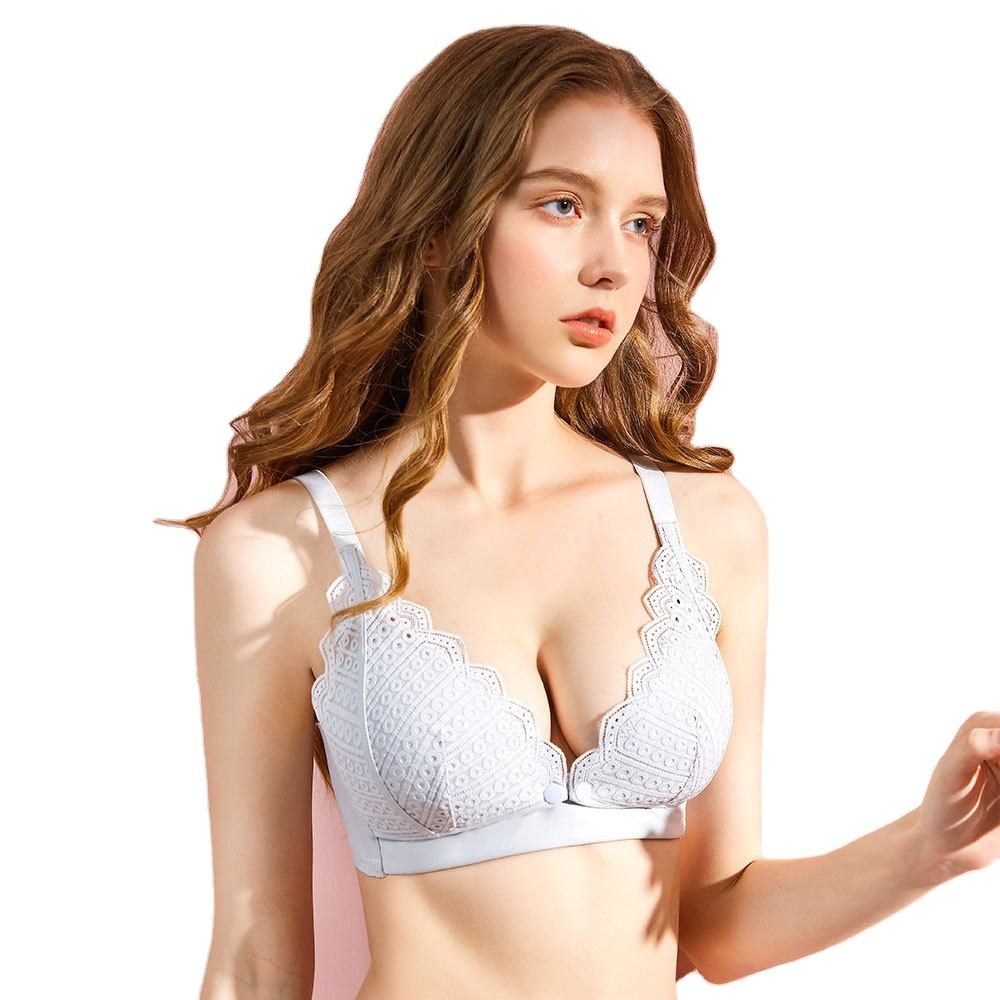 2021 new lace pregnant women's underwear pure cotton gathered traceless hand sucking nursing bra