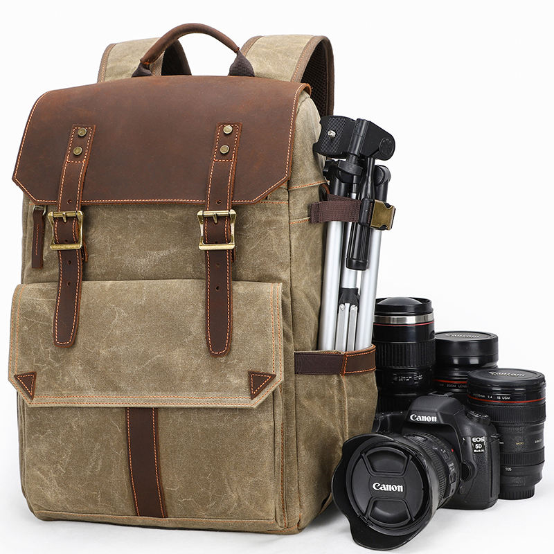 2020 wholesale outdoor large capacity waterproof leather canvas bag digital camera bag for hiking