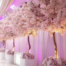 Cheap Wholesale White Plastic Flower Artificial Cherry Blossom Tree In Indoor Wedding Centerpieces