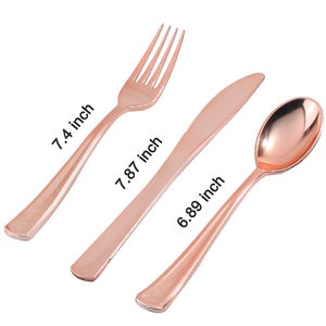 Silverware knife fork and spoon flatware disposable copper rose gold plastic cutlery set for wedding and party