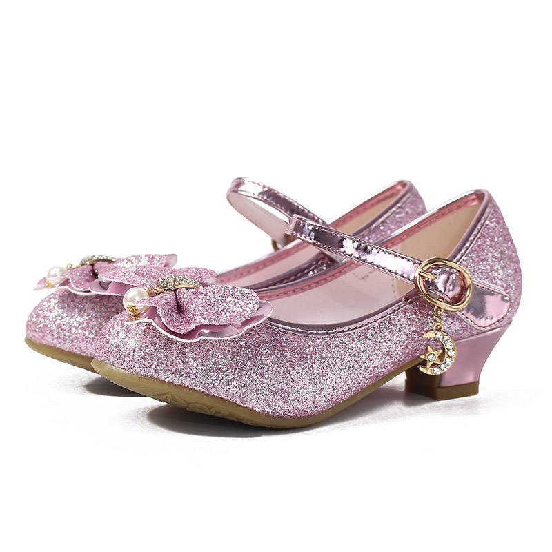 Girls High Heel Bow Princess Children Shoes Glitter Leather Girls Kids Shoes For Party Dress Crystal Wedding Party