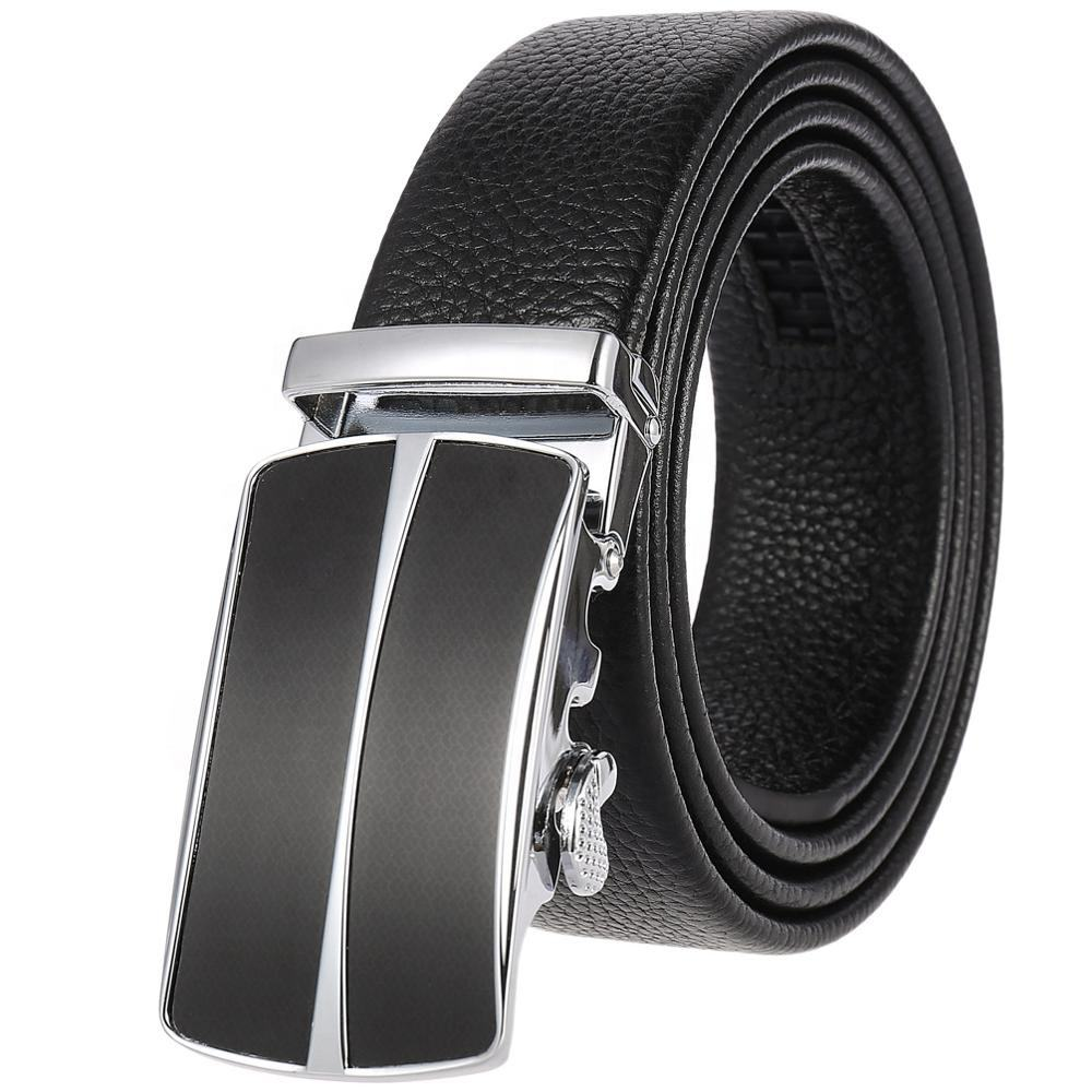Custom Quality Full Top Grain Ratchet Automatic Buckle Genuine Leather Belt for Men