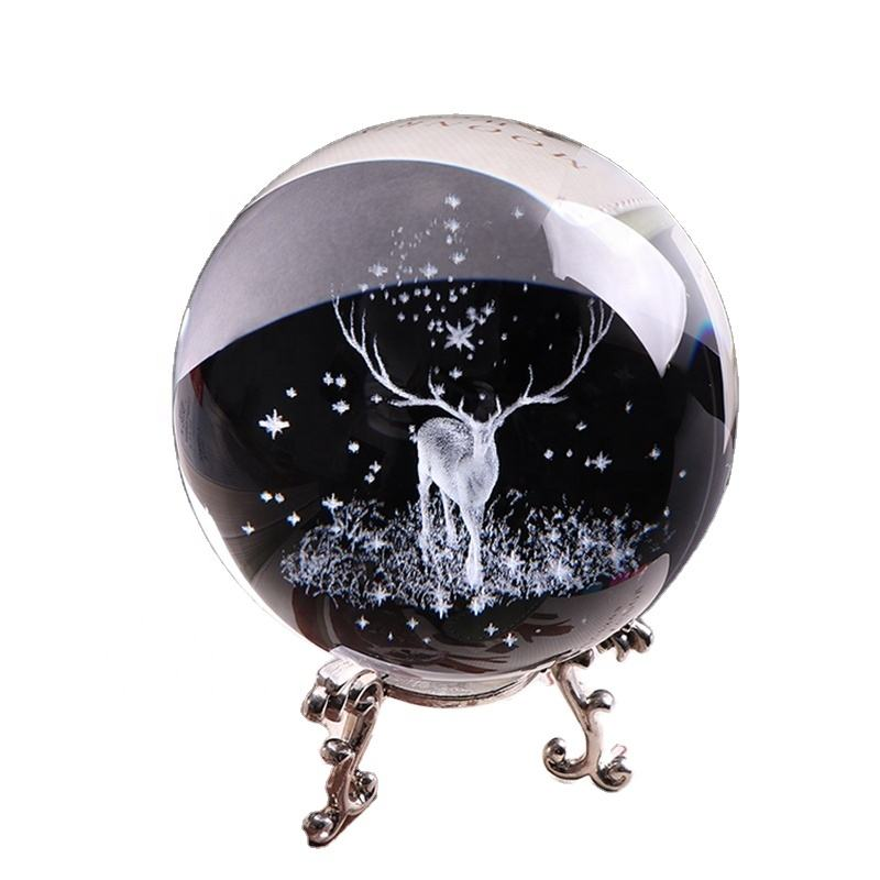 Miniature 3D Laser Engraved Crystal Glass Ball for Customized souvenir gifts