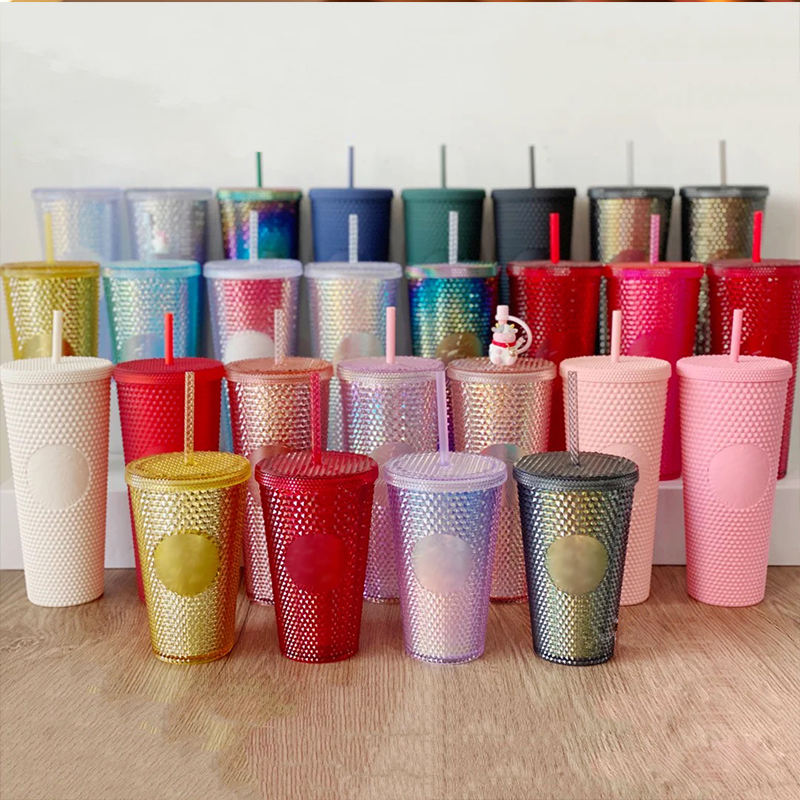 2021 fall black and gold matte studded reusable cold color changing cups tumbler with lid and straw
