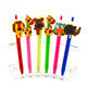 Creative cartoon plastic ball pen with silicone figure topper