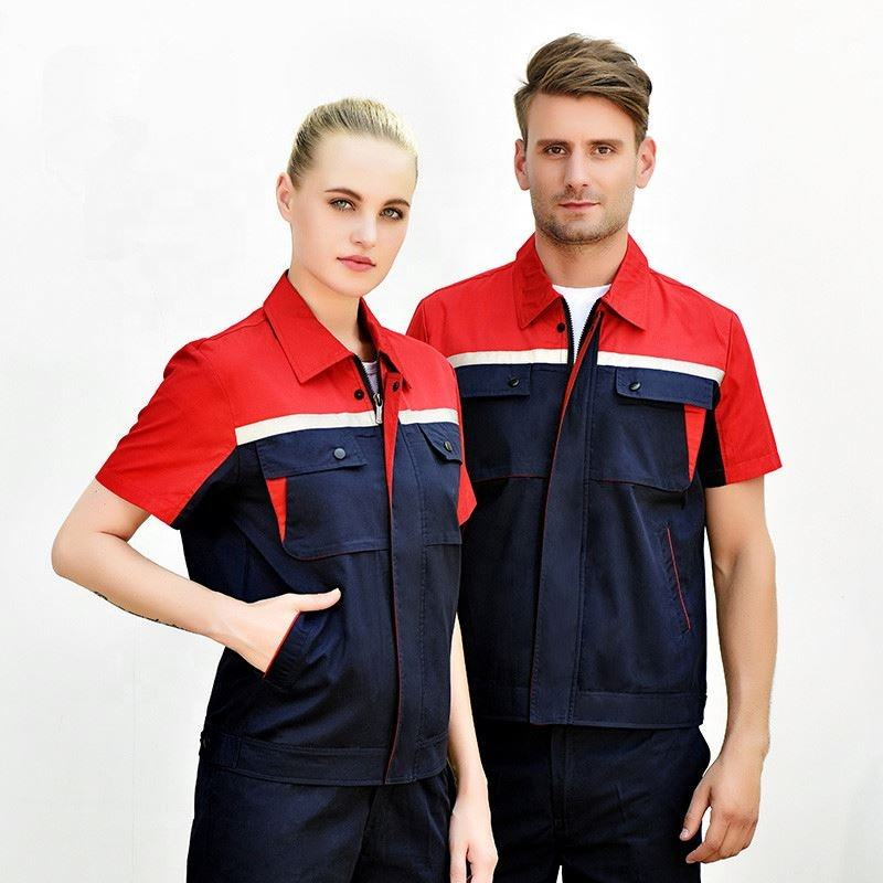 Workshop Uniform Women Men Work Clothing Cotton Labor Short Sleeve Shirt Workpants Two Piece Set Workwear custom