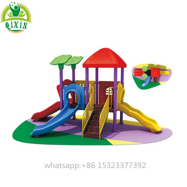 Interesting playground tree house slides backyard play set for kids multiple slideways playground( QX-18061A)