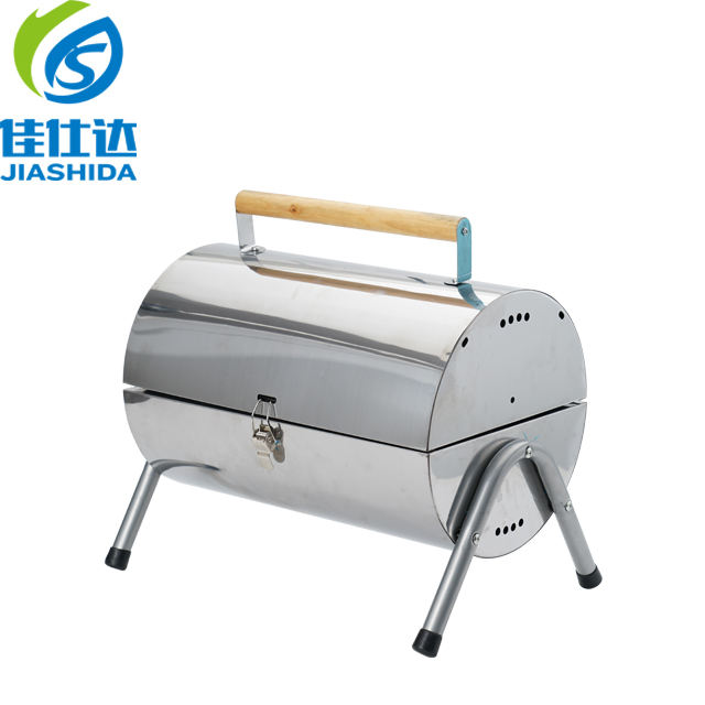 Portable Barrel Charcoal BBQ Stainless Steel Grill For Outdoor, Stainless Steel Grill, Twins Charcoal BBQ Grill