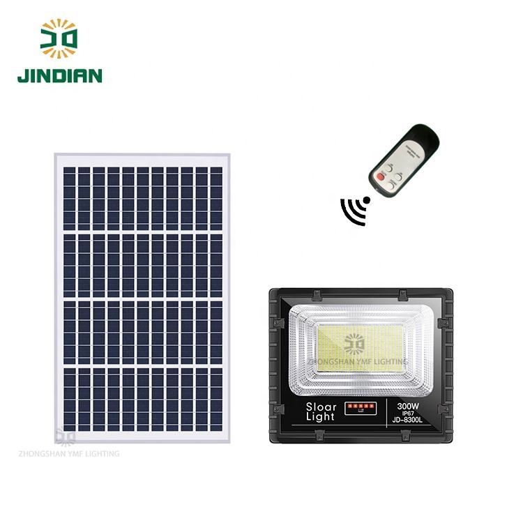 Jindian High Power High Bright Outdoor 300W Aluminum Solar Flood Light With Power Display