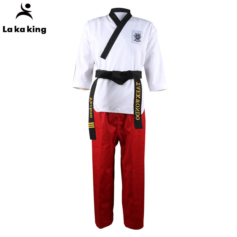 TKD stijl taekwondo uniform tela uniform wtf logo itf taekwondo uniform