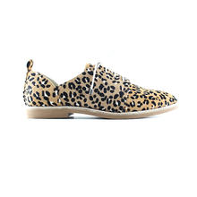 chengdu factory Leopard Print Shoes Brogues Lace up Flat Shoes for Women