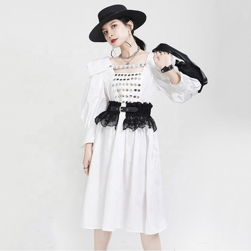 2020 Summer Women's Craftsmanship Rivet Customized Oversized Bubble Sleeve Retro Palace French Dress