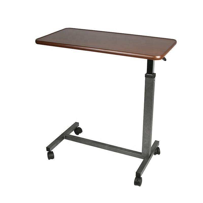 Hospital Height Adjustable Overbed Working Dining Table With Wheels